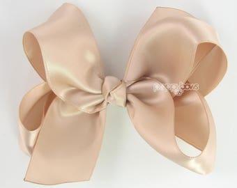 Nude Satin Hair Bow, Wedding Hair Bow, Girls Hair Bow, Flower Girl Hair Bow, Beige Dark Champagne, 4 inch Bow, Satin Bows, Big Hair Bow