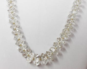 Gorgeous Vintage Faceted Briolette Czech or French Cut Crystal Beaded Necklace   Estate Jewelry Find