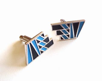 Vintage Speidel Cuff Links Silvertone, Rare Blue and Black 1980s Neo-Deco Cufflinks Geometric Design Puts Color on your Cuff Signed Speidel