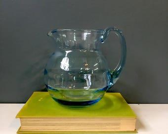 Optic blue blown glass pitcher - 1980s vintage handmade art glass