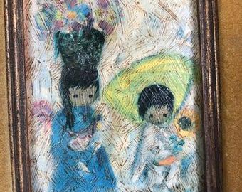 """Framed DeGrazia Print """"Mercado de Niños"""""""