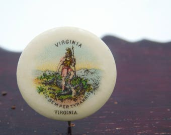 Antique Virginia State Seal Pinback Button Sweet Caporal Cigarette Premium   dr20