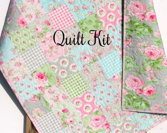 Woodland quilt kit diy project easy beginner striped panel baby girl quilt kit charlotte tanya whelan free spirit fabrics blue pink gray grey cottage beginner solutioingenieria