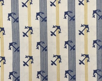 RJR Fabric, Two Harbors, 6376, Nautical, Anchors, Blue and White