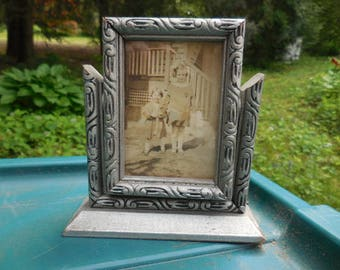 Vintage 1920s to 1940s Silver Carved Wood Swivel Photo/Picture Frame Small Art Deco Era Mini