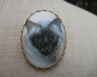 Vintage 1960s to 1970s Large Glass Light Gray Black Face Blue Eyes Siamese Kitty Cat Portrait Pin Brooch Gold Tone Cabochon Oval