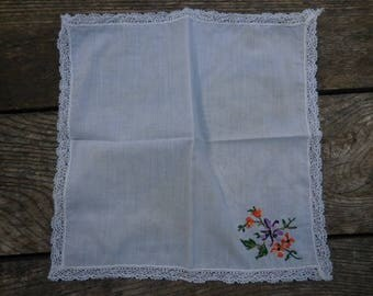Vintage 1950s to 1960s White Handkerchief with Embroidered Purple/Orange Flowers Green Leaves Lace Edging Retro Accessory Reuse