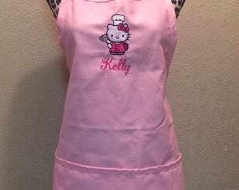 Embroidered Womens Kitchen Apron Personalized FREE Hello Kitty