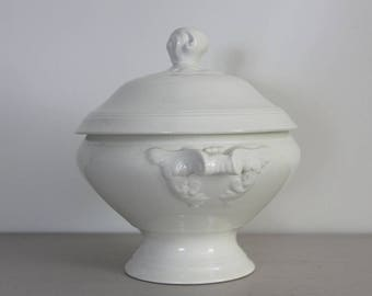 French Vintage White Ironstone Bowl, Tureen, Earthenware Ironstone, Shabby Chic