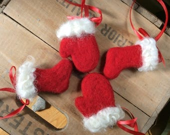RESERVED FOR SUSAN Pair of Wooly Red and White Christmas Stocking and Mitten Ornaments Needle Felted