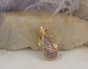 Holly Blue Pendant Wrapped in Gold Filled Wire