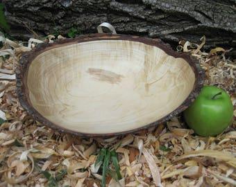 """Natural Edge Red Maple Bowl 11"""" Wood Bowl Hand Turned Wood Bowl Live Edge Wood Bowl Maple Wood Bark Dough Bowl Rustic Wood Food Bowl"""
