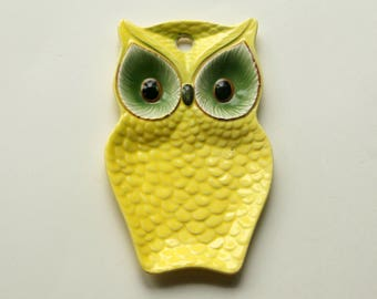 Owl Spoon Rest, Vintage Lefton Spoonrest, Owl Kitchen Decor, Ceramic Wall Plaque
