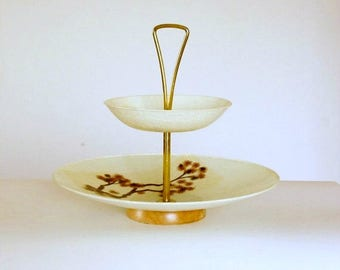 Vintage Tiered Tray, Fiberglass Tray Stand, Mid Century Tidbit, Dessert Table Decor