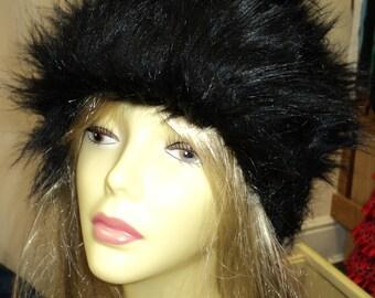 Ladies black long pile luxury faux fur hat one size