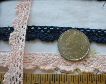 """Peachy Pink or Dark Blue Cotton Filet Lace Trim 1/2"""" to 9/16"""" wide scallop edge edging yardage cluny lace"""