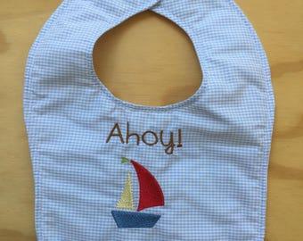Baby Boy Embroidered Bib