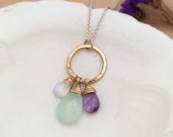 Aqua Chalcedony, Amethyst, Moonstone, 14k Gold Filled and Sterling Silver Necklace, Gemstone Briolettes Pendant