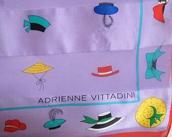 "Vintage Retro Silk Scarf Adrienne Vittadini 20"" X 21""  #023"