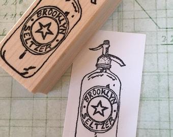 Brooklyn Seltzer Bottle Rubber Stamp