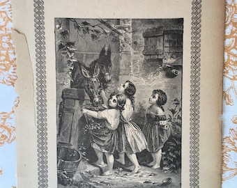 Original antique prints from child's story book suitable for framing set of three