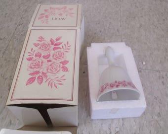 vintage avon dinner bell rose bone china unused with box