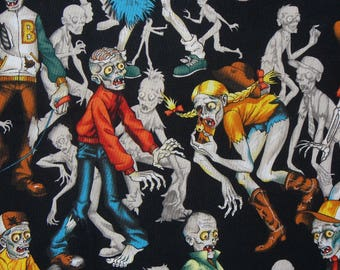 Zombie Fabric, Zombie High, Alexander Henry, High School, Halloween Fabric, By the Yard, Cotton Fabric