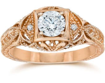 Emery 5/8 Ct Vintage Diamond Antique Engagement 14K Rose Gold