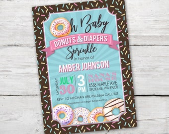 Diapers and Donuts Sprinkle invitation, Donuts and Diaper Baby Shower, Donut Baby Sprinkle, Donuts and Diapers Sprinkle, Printable