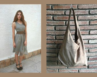 Large TOTE leather bag in  BEIGE with matching OBI belt . Soft natural suede leather bag. Bohemian bag. beige suede bag.
