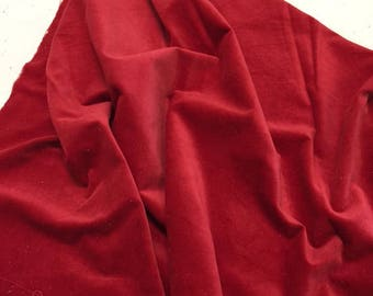 """CHILI hand-dyed Velveteen 100% Cotton approx. 18"""" x 10"""" Fat 1/8th Lady Dot Creates Finishing fabric"""