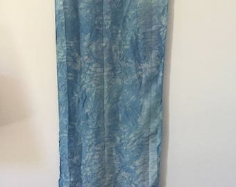 Silk Habotai hand-dyed with natural indigo shibori stitched for artists, quilters, mixed media