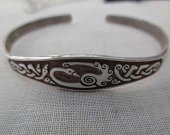 vintage sterling silver bracelet - celtic, cuff, adjustable, 925