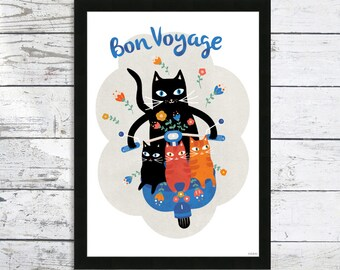 Bon Voyage Cat print - Cat prints - Black Cats - Modern cats prints - Cat art print - Cat Lover Gift