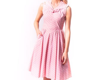 1940's Pink Chevron Striped Cotton Sundress/ 40s 50s Helen Whiting