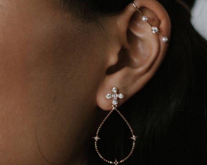 NEW! Ptolemaios earrings - celestial crystal earrings - 18k gold plated dangle earrings - crystal earrings bridal