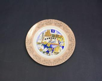 Vintage Kansas State Souvenir Plate (E8729)