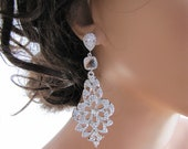 Chandelier earrings, long dangle bridal earrings, three-tier sparkling & bling earrings, rhinestones cubic zirconia  - Sonya