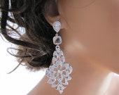 Ohrringe, lange baumeln Braut Ohrringe, dreistufige Sekt & Bling Ohrringe, Zirkonia Strass - Sonya