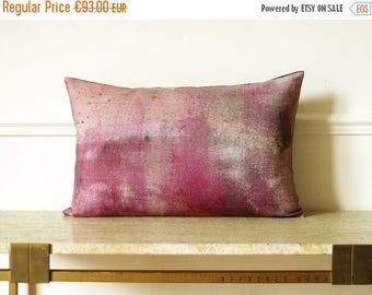 ON SALE Modern pink vintage inspired decorative Linen oblong Pillowcase .  Fade color .. / RETRO-Modern