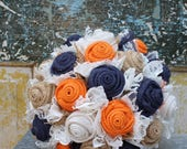 Custom order for Kayla - navy and orange burlap and lace fabric wedding bouquets