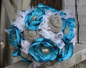 Turquoise, Gray, and White Fabric Bouquet, Vintage, Satin, Burlap and Lace Bride's Bouquet, Wedding Flowers, Vintage Glam, Brooches. Jewels