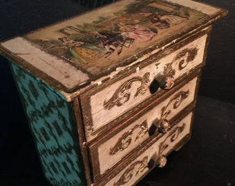 Italian Florentine Jewelry Chest Pictorial Scene with Satyr at Gothic Rose Antiques