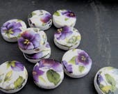 10 Small Purple Pansy Floral Glazed Round Coin Clay Beads
