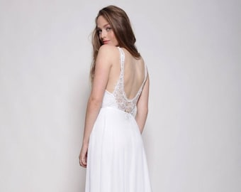 Boho wedding dress, embroidery collar, open back lace wedding dress