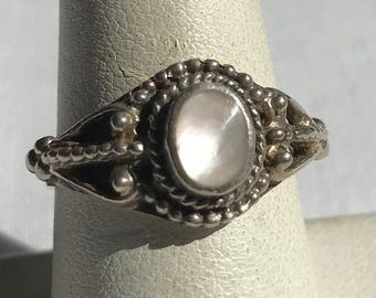 Sterling Silver Mother Of Pearl Ring-Size 8