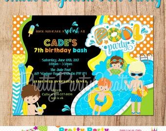 MAKE A SPLASH Pool Party boys invitation - You Print