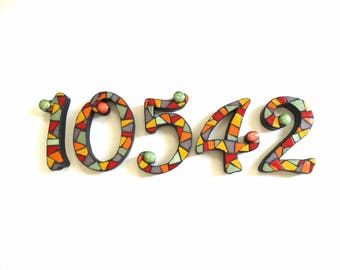 Mosaic Numbers 5 inch, set of five numbers, house numbers, mailbox numbers