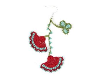 Crochet Earrings- Handmade Red Turquoise Crochet Floral Dangle Earrings, Ethnic Earrings, Oya Earrings, Beaded Earrings, Bohemian Jewelry
