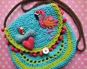 Crochet pattern - Flamingo crochet purse by VendulkaM - crochet handbag/ bag pattern/ digital, DIY, pdf